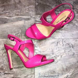 Gianni Bini Hot Pink Faux Leather Strappy Heels